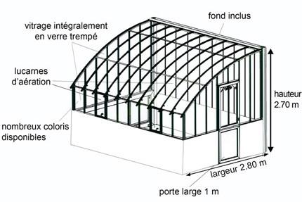 Schéma serre Versailles sur muret
