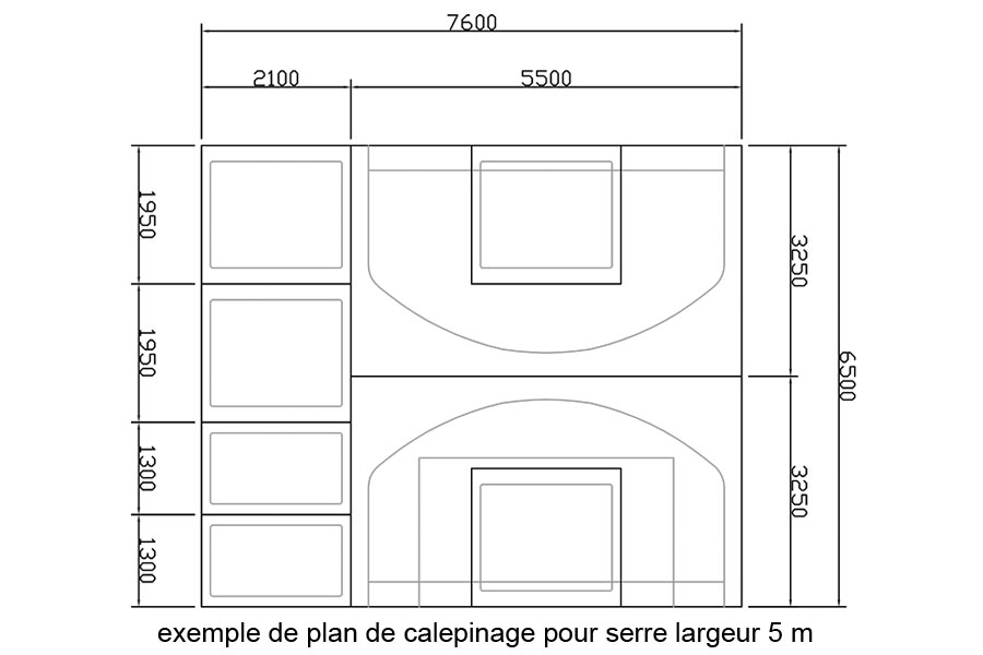 Plan de calepinage serre 5 m de large