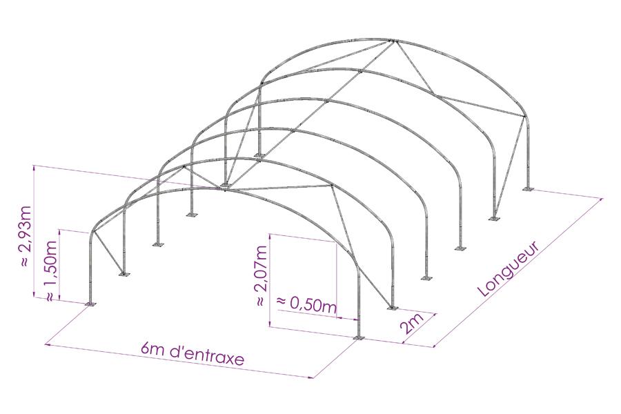 Tunnel de stockage agricole largeur 6m - Les cotes d un plan ...