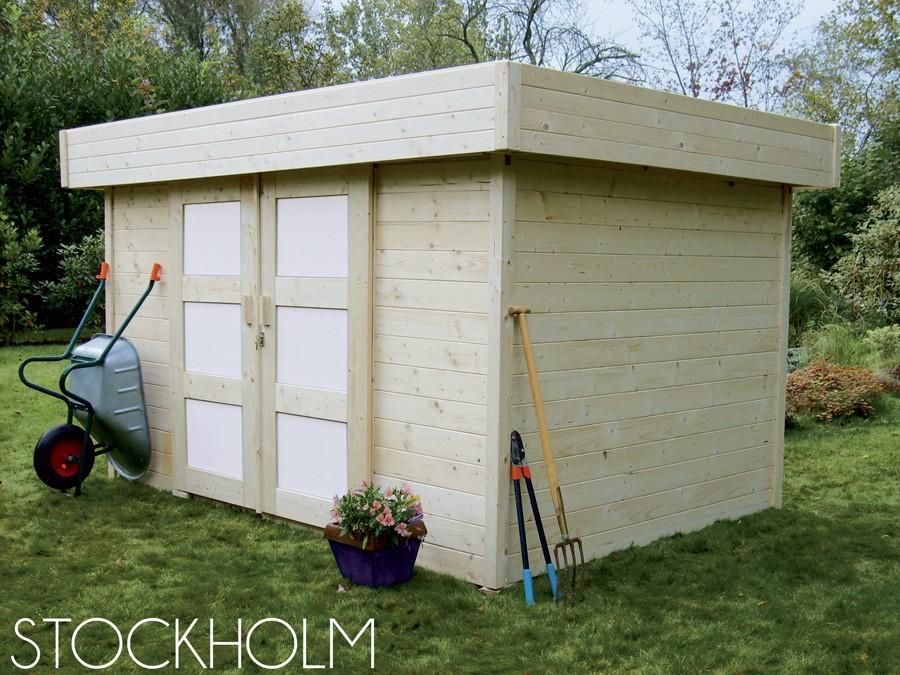 Abri stockholm 28 mm 8 3 m jardin couvert - Autorisation de travaux abri de jardin ...